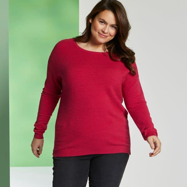Damen-Pullover mit Struktur-Streifen, große Größen