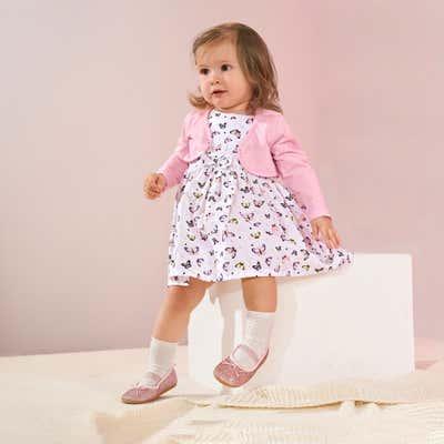 Baby-Mädchen-Kleid mit Schmetterlings-Motiv