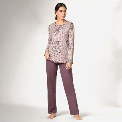 Damen-Schlafanzug mit Tiermuster-Design, 2-teilig