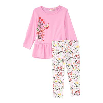 Baby-Mädchen-Set mit Frühlings-Muster, 2-teiiig