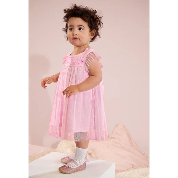Baby-Mädchen-Kleid mit Mesh-Einsatz