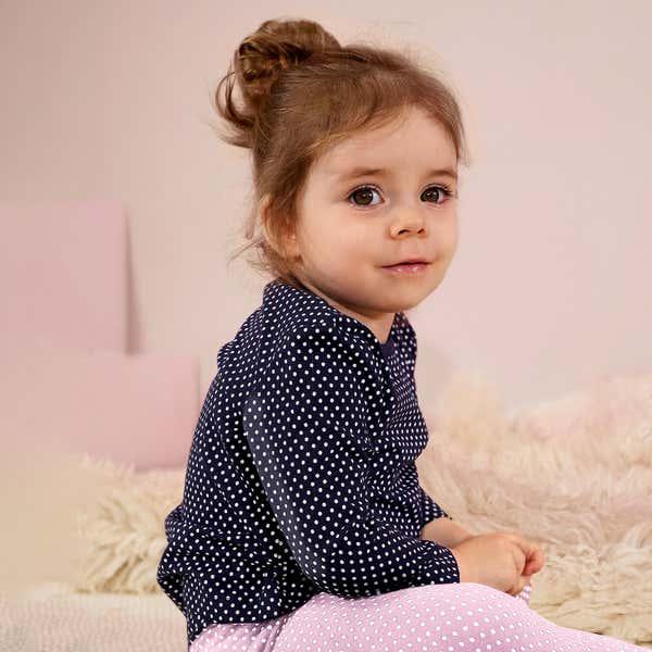 Baby-Mädchen-Shirt mit Punkten, 2er-Pack