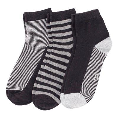 Herren-Kurzschaft-Socken mit Streifemuster, 3er-Pack
