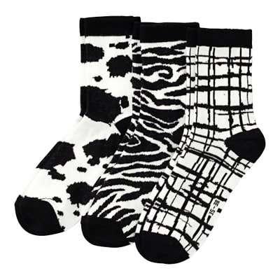 Damen-Socken mit stylishen Mustern, 3er Pack