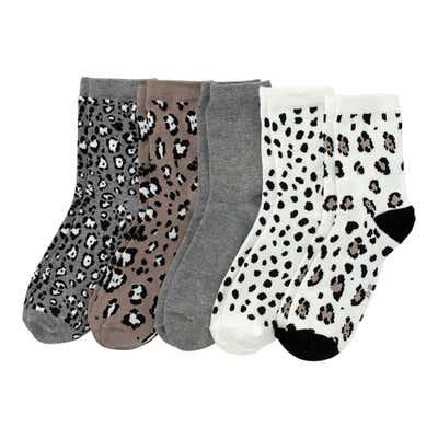 Damen-Socken mit Leoparden-Muster, 5er-Pack
