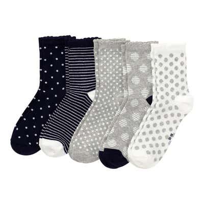 Damen-Socken mit Mäusezähnchen, 5er-Pack