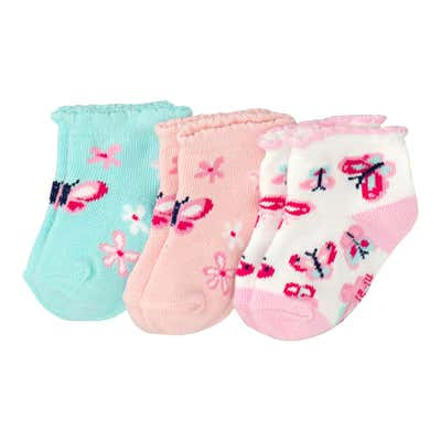Baby-Mädchen-Sneaker-Socken, 3er-Pack