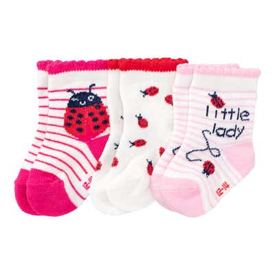 Baby-Mädchen-Socken mit Marienkäfer-Design, 3er Pack