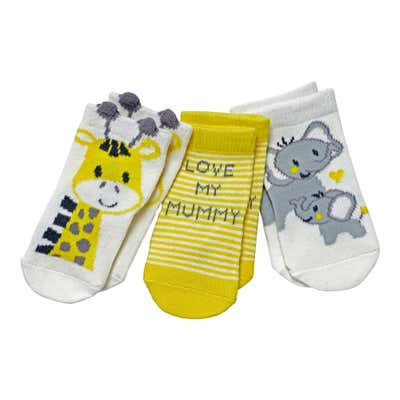Baby-Socken mit Tier-Motiven, 3er-Pack