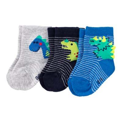 Baby-Jungen-Socken mit Dino-Motiven, 3er-Pack