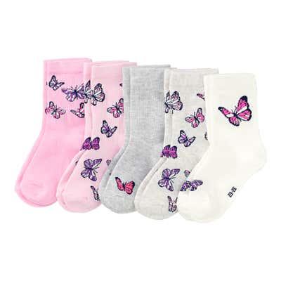Mädchen-Socken mit Schmetterlings-Design, 5er Pack