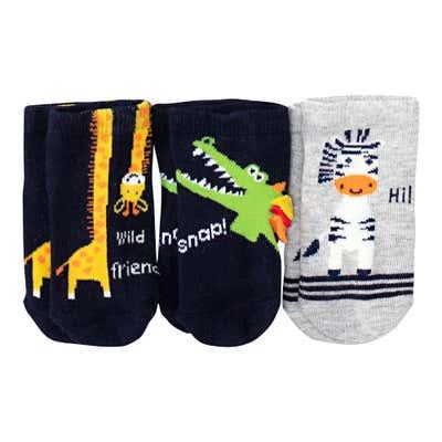 Baby-Jungen-Sneaker-Socken mit Tier-Design, 3er-Pack