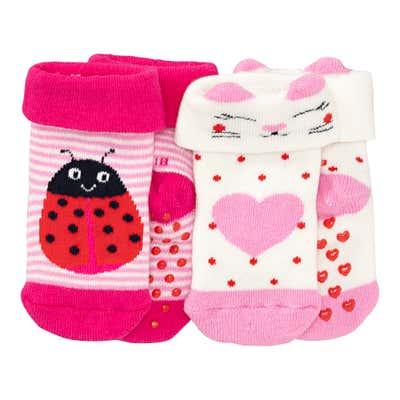 Baby-Mädchen-Socken mit ABS-Noppen, 2er-Pack
