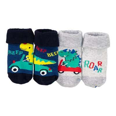 Baby-Jungen-Socken mit ABS-Noppen, 2er Pack