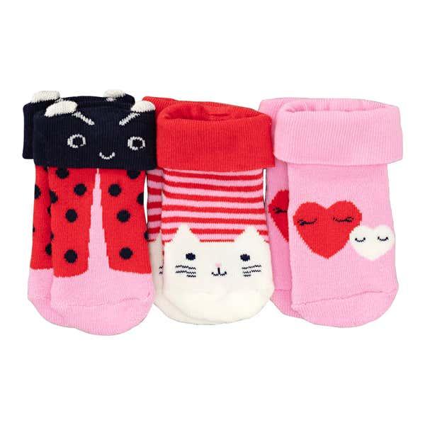 Baby-Mädchen-Frottee-Socken, 3er Pack