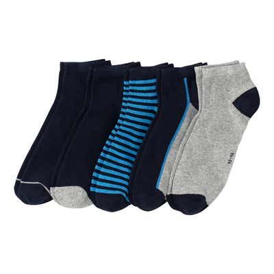 Herren-Sneaker-Socken mit Kontrast-Effekten, 5er-Pack