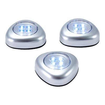LED-Push-Licht zum Kleben, ca. 7x7x3cm, 3er-Set