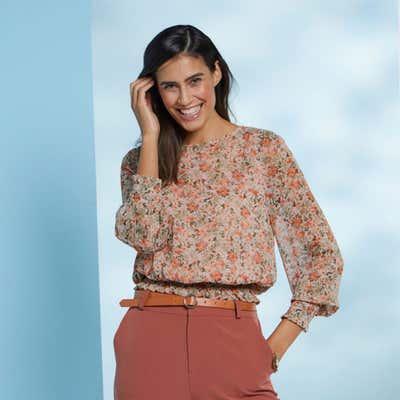 Damen-Bluse mit gesmokten Bündchen