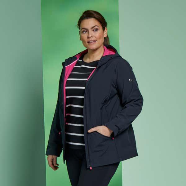 Damen-Softshelljacke mit Kapuze, große Größen