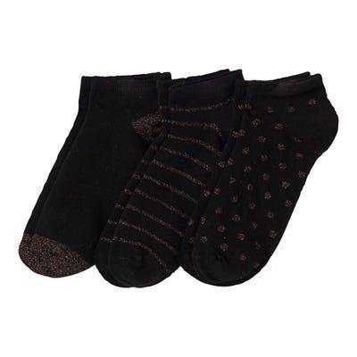 Damen-Sneaker-Socken mit Glitzer-Effekten, 3er-Pack