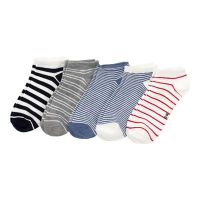 Damen-Sneaker-Socken mit Streifenmuster, 5er-Pack