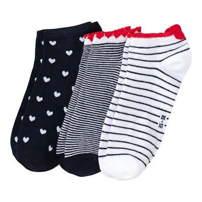 Damen-Sneaker-Socken mit Ringelmuster, 3er Pack