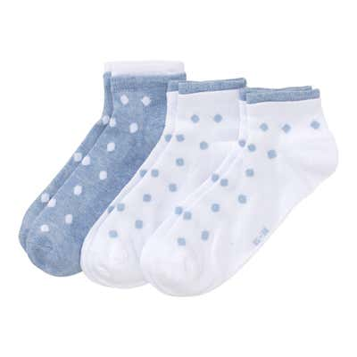 Damen-Sneaker-Socken mit Punkte-Muster, 3er-Pack