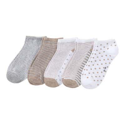 Damen-Sneaker-Socken mit Glitzerfäden, 5er-Pack