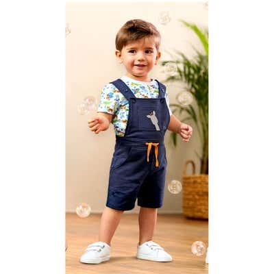 Baby-Jungen-Set mit Shirt und Latzhose, 2-teilig