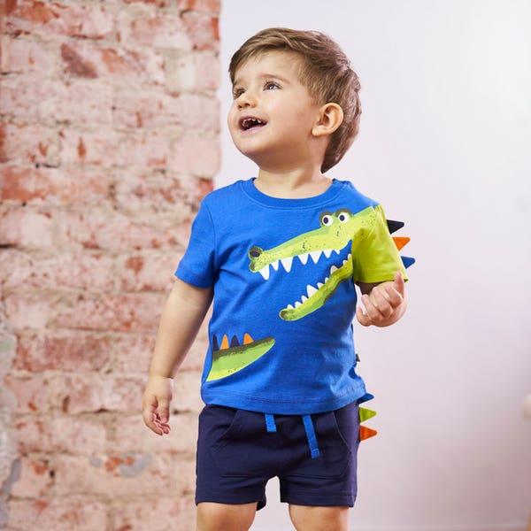 Baby-Jungen-Set mit applizierten Zacken, 2-teilig