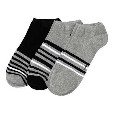 Herren-Sneaker-Socken mit Streifen, 3er Pack