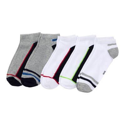 Herren-Sneaker-Socken mit Kontrast-Streifen, 5er-Pack