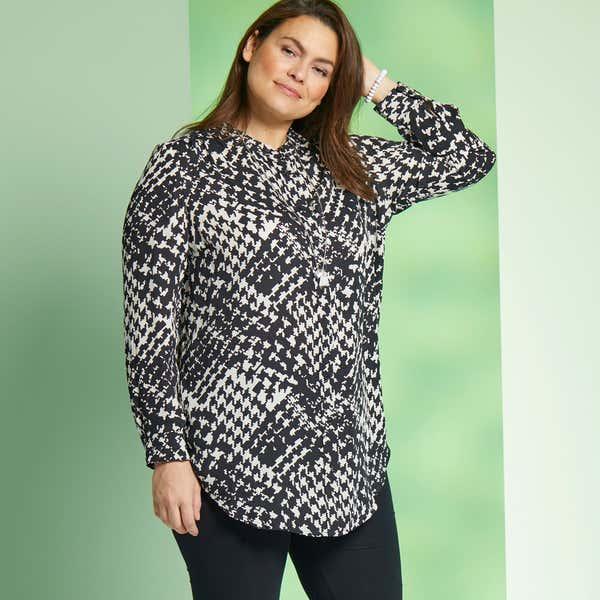 Damen-Bluse mit Hahnentritt-Muster, große Größen