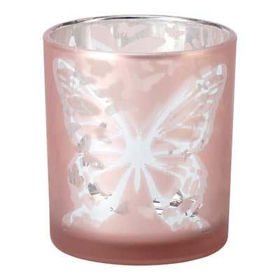 Teelichthalter mit Schmetterlings-Motiv, ca. 7x8cm
