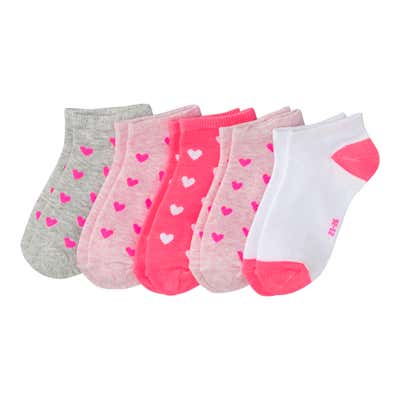 Mädchen-Sneaker-Socken mit Herzmuster, 5er-Pack