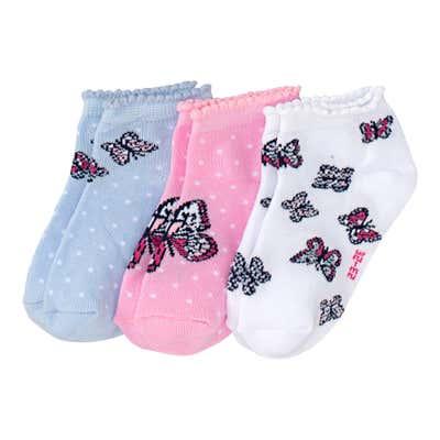 Mädchen-Sneaker-Socken mit Schmetterlings-Motiven, 3er-Pack