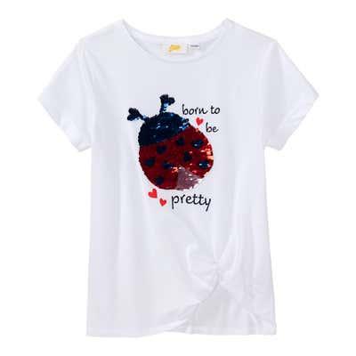 Kinder-Mädchen-T-Shirt mit Marienkäfer