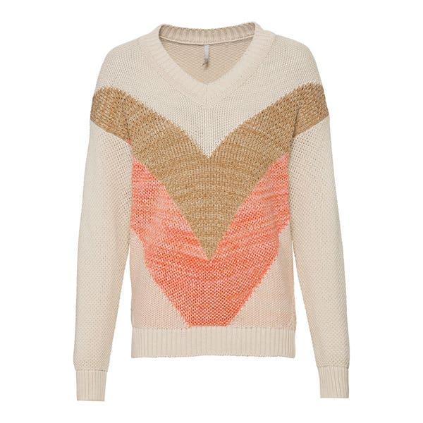 Damen-Pullover mit diagonalen Streifen