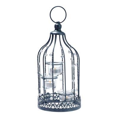 Deko-Vogelkäfig mit Teelichthalter, ca. 15x15x31cm