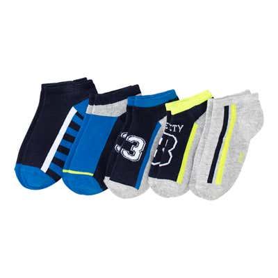 Jungen-Sneaker-Socken mit Kontrast-Design, 5er-Pack
