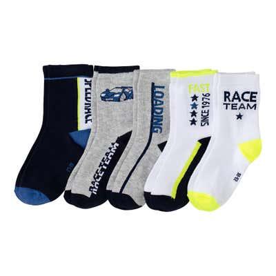 Jungen-Socken im Rennauto-Design, 5er-Pack