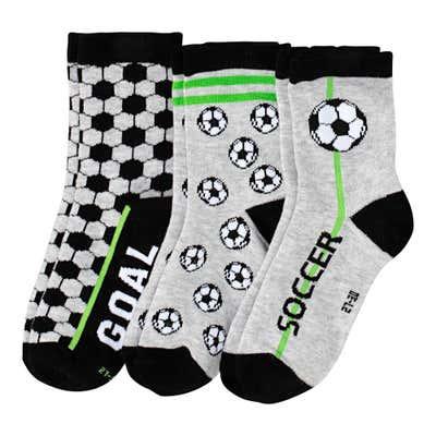 Jungen-Socken mit Fußball-Muster, 3er-Pack
