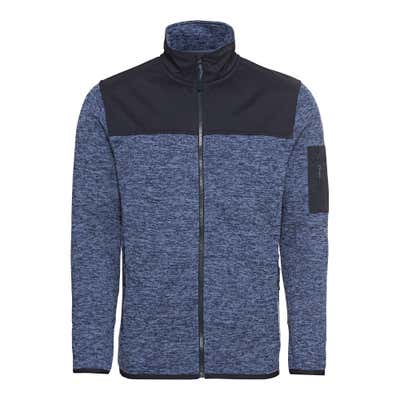 Herren-Strickfleece-Jacke mit Kontrast-Einsatz