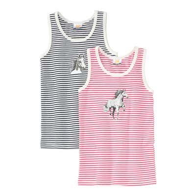 Mädchen-Unterhemd mit Pferde-Aufdruck, 2er Pack