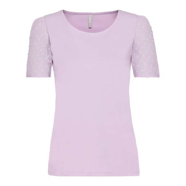 Damen-T-Shirt mit Punkten-Struktur am Ärmel
