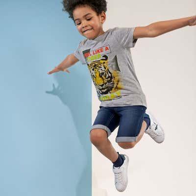 Kinder-Jungen-T-Shirt mit Löwen-Aufruck