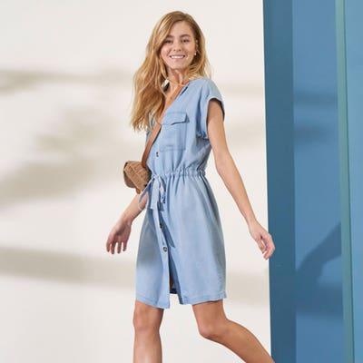 Damen-Tencelkleid mit Jeanswascheffekt