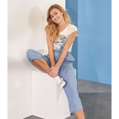 Damen-Culotte in Jeans-Optik, mit Gürtel
