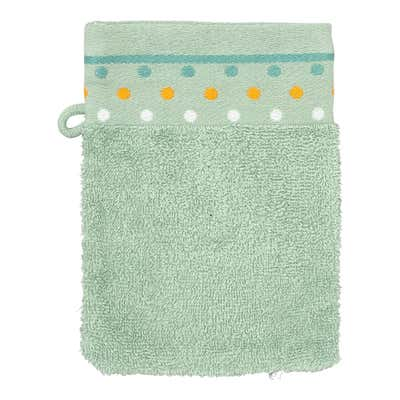 Waschhandschuh mit Punkte-Bordüre, ca. 16x21cm