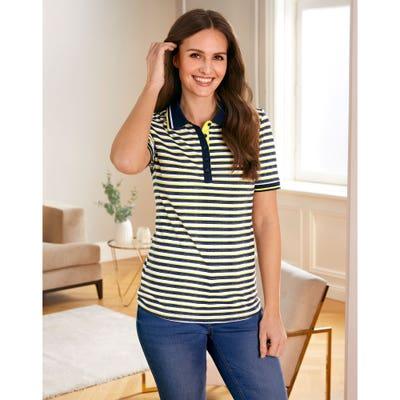 Damen-Poloshirt mit Streifenmuster